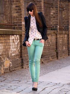 Minty pants, polka dot shirt, and black blazer.