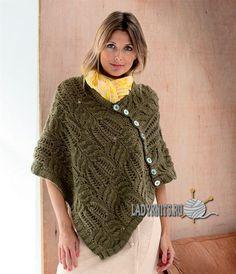 Вязаное спицами красивое ажурное пончо