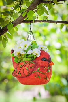 Hangs from 3 chains attached to a small hook; display on a tree branch, pole, shepherd's hook, and Shepherds Hook, Pot Plants, Small Trees, Tree Branches, Outdoor Gardens, Chains, Planter Pots, Display, Bird