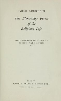"""Read Emile Durkheim's """"The Elementary Forms of the Religious Life"""" free online via Open Library. Sociological Imagination, Critical Theory, Open Library, Religious Studies, Film Books, Sociology, Alexandria, Kite, Classroom Decor"""