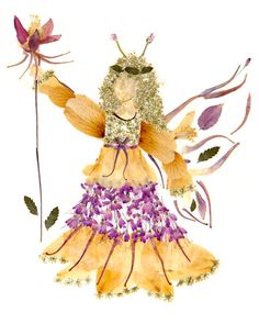 This original Friendship Faery design was fashioned entirely from pressed flower blossoms and greenery grown in my own enchanted gardens.