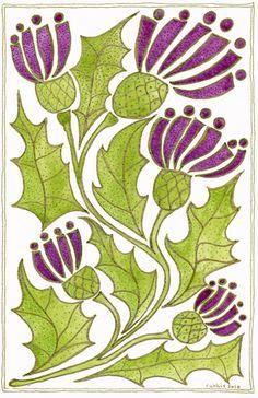 """""""Scottish Thistle"""" print by Ruthie Redden: inspiration for applique quilt Wool Applique, Applique Patterns, Applique Quilts, Celtic Art, Celtic Symbols, Scottish Thistle, Celtic Designs, Scotland, Stencil"""
