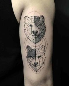 65 Tattoos For Men - Animals are often the most common symbol present in male tattoos - Tribal Tattoos, Geometric Bear Tattoo, Bear Tattoos, Wolf Tattoos, Body Art Tattoos, Totem Tattoo, Wolf Tattoo Sleeve, Sleeve Tattoos, Couple Tattoos