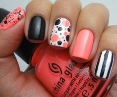 Peach and Black Nail Art