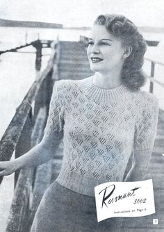 Vintage knitting patterns, 1940s fashion, women's knits,  8 knitting patterns, wartime fashion, summer tops, jumpers