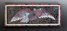 Flying Owl Mosaic: (Spectrum Glass, Mosaic Tiles, Wooden Base - designed and created by Karen J Lauseng).
