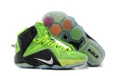 low priced 791dd e0a3f Womens WMNS LeBron 12 GS PS Elite Fluorescent Green Charcoal Black 650884  002 Nike Lebron,