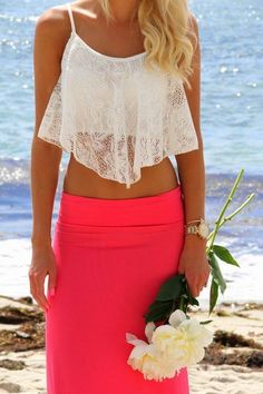 Summer 2014 Fashion – Love this beach style! White crop top with a flowy lace overlay with a body hugging skirt!