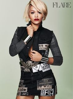 Rita Ora Stars in Flare, Reveals Instagram Is 'Like a Drug' to Her // patch dress is so cool!