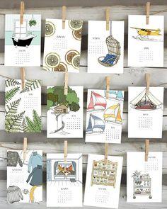 2018 Illustrated Calendar by Sloe Gin Fizz Table Calendar, Calendar Layout, Art Calendar, Desk Calendars, Calendrier Diy, Kalender Design, Season Calendar, Creative Calendar, Gift Wraping