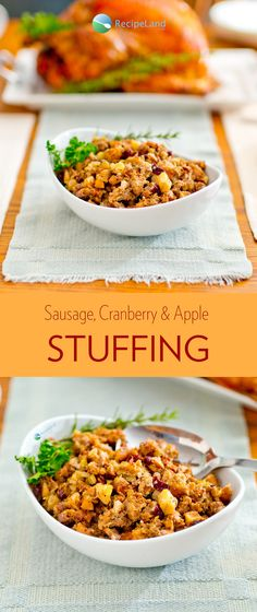 This Thanksgiving stuffing is packed with fresh seasonal flavors. Will stuff a 10 to 16 pound turkey which serves up to 10 people. Turkey Stuffing, Thanksgiving Stuffing, Turkey Sausage, Thanksgiving Recipes, Cranberry Recipes, Apple Recipes, Stuffing Recipes, Dried Cranberries