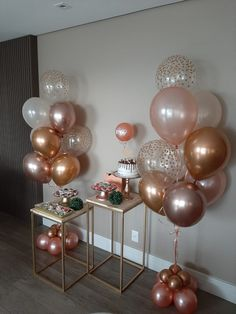 Birthday Decorations At Home, Balloon Decorations Party, Baby Shower Decorations, Birthday Party For Teens, Birthday Diy, Wedding Balloons, Balloon Bouquet, Gold Party, Rose Gold