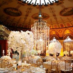 This look was created by using gold chairs and a mixture of high and low centerpieces on medium length rectangular tables surrounded by gold place settings and candles. The dramatic chandelier in the center of the room, adds a touch of drama and completes the look.