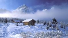 Mountain cottage in winter Desktop Nexus Wallpapers Winter Winter Cabin Wallpapers Wallpapers) Winter Szenen, Winter Cabin, Snow Cabin, Winter Mountain, Winter Christmas, Frozen Christmas, Winter Blue, Winter Storm, Christmas Scenes