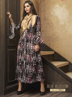 Lovely collection of kurti available at best price. Buy this muslin multi colour party wear kurti. Kurti Collection, One Piece Outfit, Summer Wear, Party Wear, Style Icons, Icon Fashion, Fancy, Indian, Kurtis