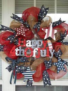 """Happy 4th of July"" Vintage Americana Patriotic Holiday Star Wreath Decoration   eBay"