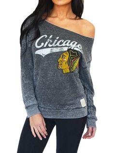 Chicago Blackhawks sweatshirt- love the off the shoulder look!