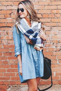 plaid scarf + chambray dress
