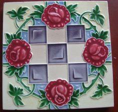 vintage japanese tile . made by M S tile works    ... artnouveau  tile
