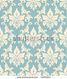 floral wallpaper pattern light yellow ornament and blue striped background by Irmairma, via ShutterStock