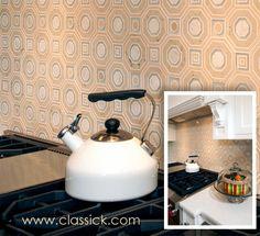 Seville Crema Glass and Stone Water Jet Mosaic kitchen backsplash.  | Classic Kitchen & Bath Boico Design Group