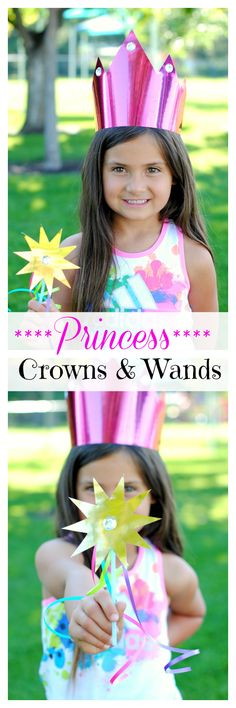 Make your own princess crown and wand! Perfect craft for little girls.