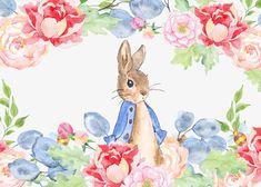 Watercolor rabbit in the garden,Watercolor flowers,Drawing Rabbit