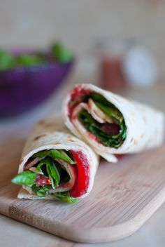 Basil and strawberries salad wrap. A simple and easy recipe, great for summer time.
