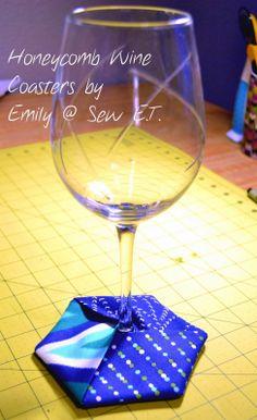 Quick Honeycomb Wine Coasters; using Heat n Bond Vinyl.  Must try.