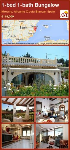 Bungalow for Sale in Moraira, Alicante (Costa Blanca), Spain with 1 bedroom, 1 bathroom - A Spanish Life Murcia, Valencia, Bungalows For Sale, Alicante Spain, Heating And Air Conditioning, Central Heating, Terrace, Swimming Pools, Pergola