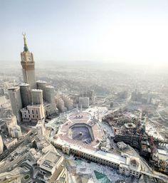 Aerial Photo of Masjid al-Haram and Abraj al-Bait (Makkah, Saudi Arabia) Masjid Haram, Mecca Masjid, Rome, Mekkah, Saudi Arabia, Seville, Islamic Art, Islamic Quotes, Amazing Architecture