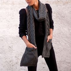Poketo Pocket Scarf - Black & Charcoal