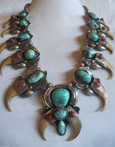 Vintage NAVAJO Sterling Silver Turquoise & Coral SQUASH BLOSSOM NECKLACE