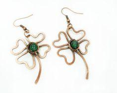 Clover earrings, wire clover, clover jewelry, lucky, lucky earrings, green earri