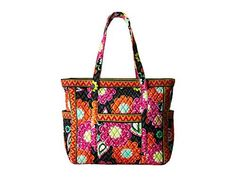 "Vera Bradley Luggage Get Carried Away Tote Tote Ziggy Zinnia. Breakaway zipper feature allows for wide, tote-like opening or snug and secure closure for travel. Softly quilted, positionable shoulder pads located on handles. Six interior slip pockets plus two plastic-lined pockets. Care: Machine wash cool, gentle cycle. Do not bleach. Line dry. Measures: 18_"" x 15_"" x 7_"" with 12_"" strap drop."