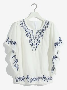 Kaftans, Dress Collection, Baby Dress, Blue And White, Tunic Tops, Embroidery, Female, Blouse, Fabric