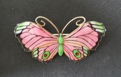 Stunning vintage silver & GUILLOCHE ENAMEL butterfly brooch 1942