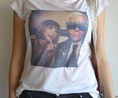 T-shirt Anna Wintour e Karl Lagerfeld