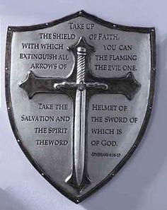19102_ArmorOfGodPlaq_60097.jpg (396×500) Christian Warrior, Christian Art, Ritter, Shield Tattoo, Armor Of God Tattoo, Freemasonry, Helmet Of Salvation, Ephesians 6, Psalms