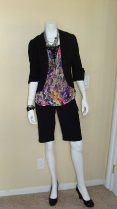 Daily Look : CAbi Spring '12 Petals Tank with Simple Cami, Black, and vintage Ginny Short and Little Black Jacket.  I love this look for work, with simple black pumps and long necklaces.