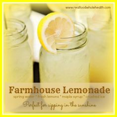 Yum! Bright lemons, pure maple syrup and sparkling spring water...it's sunshine in a Mason jar!