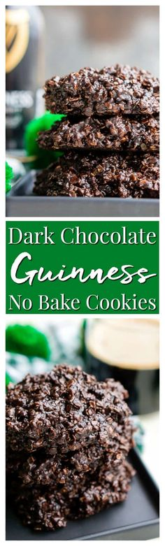Dark Chocolate Guinness No Bake Cookies are a rich, delicious, and easy dessert for St. Patrick's Day that's made with Irish stout. via @sugarandsoulco