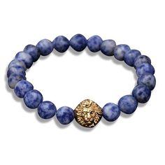 Gold Lion's Head Beaded Bracelet
