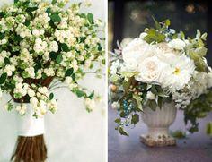Green & Ivory wedding flowers - Left: Martha Stewart/Right: Poppies & Posies via www.eleGALA.com