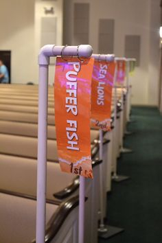 Easy sign holders for Ocean Commotion VBS teams in your assembly area #vbs2016