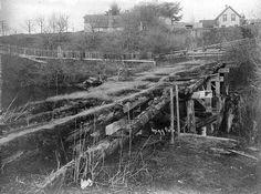 Old military bridge across Whatcom Creek , Bellingham, Washington, ca. 1904