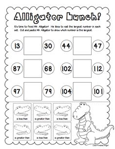 "Help your students practice ""Greater Than"" and ""Less Than"" with this place value packet.  (Sample page)  $"