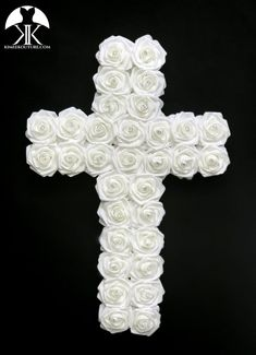 ROSE CROSS CENTERPIECE. CHRISTENING Centerpiece. Holy COMMUNION Centerpiece. Religious Wedding Centerpiece. Baptism Party. Christening Party. PICK ROSE COLOR!  Beautifully crafted CROSS with a Laser Cut wood backing and covered in PREMIUM Real Touch Roses.  Measures: Approximately 23.5 tall Christening Centerpieces, Communion Centerpieces, Red Centerpieces, Mickey Centerpiece, Dusty Rose Wedding, Aqua Wedding, Christening Party, Baptism Party, Flower Ball Centerpiece