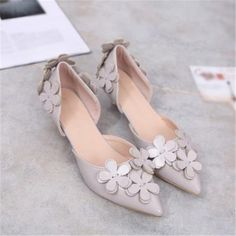 US $23.99 Flower Kitten High Low Heels Pointed Toe Faux Leather Women's Prom Shoes Pumps Gray