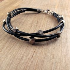 Chunky Leather & Silver Bracelet for Men by BohBiJewelry on Etsy, $72.00